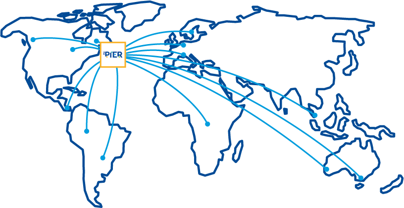 A map of the global demonstrating how The Pier collaborates amongst global partners within the maritime transportation and supply chain logistics industry.